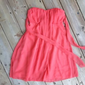 CORAL SWEETHEART EMPIRE DRESS W SASH• SIZE S(XS-S)